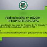 Publicado: Edital nº 03/2019 - PPES/PROPEP/CPG/UFAL